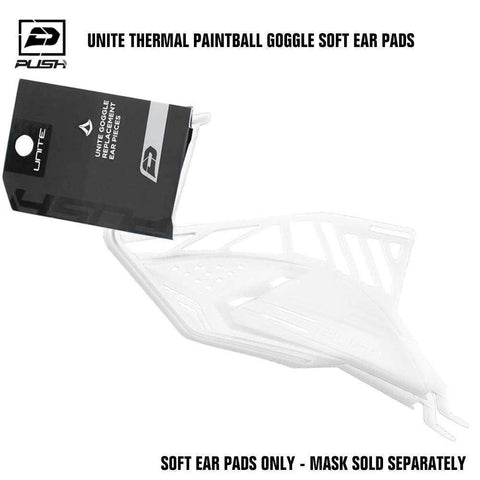 Push Unite Paintball Goggle Mask Soft Ear Pads - White - PaintballDeals.com