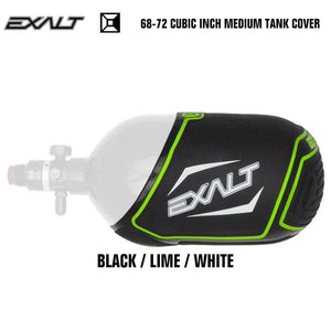 Exalt 68-72 Cubic Inch Compressed Air HPA Paintball Tank Cover - Black/Lime/White - PaintballDeals.com