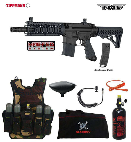 Tippmann TMC MAGFED Lieutenant HPA Tactical Camo Paintball Gun Package