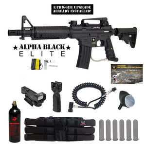 Tippmann US Army Alpha Black Elite Tactical Red Dot Paintball Gun Package