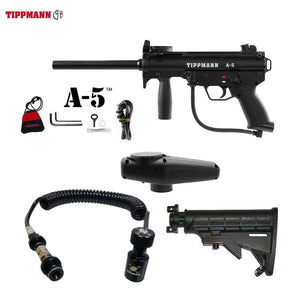 Tippmann A-5 Paintball Gun + Remote Coil w/ Slidecheck & Stock Combo Package