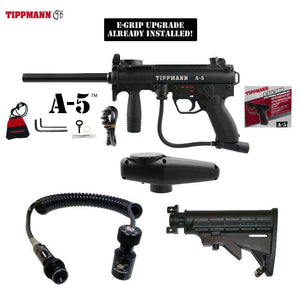Tippmann A-5 Paintball Gun + Pro Push Button Remote Coil w/ Slidecheck & Stock Combo Package