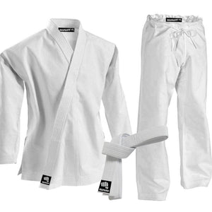 CLEARANCE - Zephyr Martial Arts K-Pro 14 oz. Karate Gi Student Uniform with Belt - White - 2 - OPEN BOX