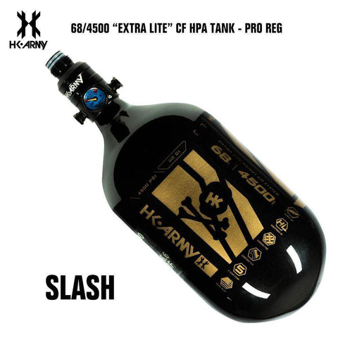 HK Army Slash 68/4500 Extra Lite Carbon Fiber Compressed Air HPA Paintball Tank - V2 Pro Regulator - PaintballDeals.com