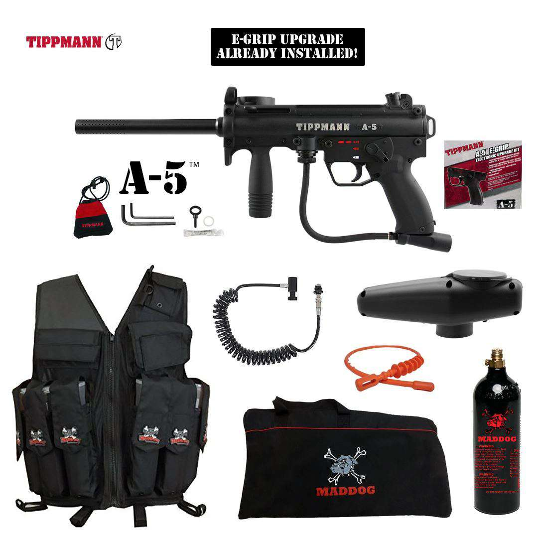 Tippmann A-5 Maddog Lieutenant Attack Vest Paintball Gun Package