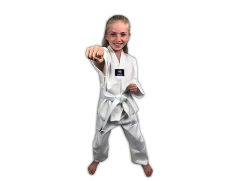 CLEARANCE - Zephyr Tae Kwon Do Gi Student Uniform with Belt - White - OPEN BOX