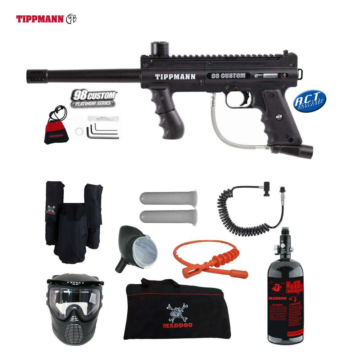 Tippmann 98 Custom Platinum Series Private HPA Paintball Gun Package