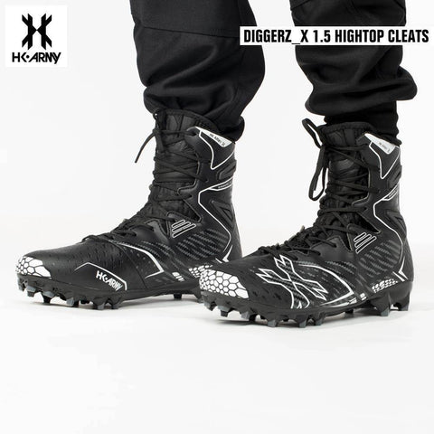 HK Army Diggerz_X 1.5 Hightop Paintball Cleats - Black/Grey - PaintballDeals.com
