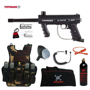 Tippmann 98 Custom Platinum Series Maddog Lieutenant Tactical Camo Vest Paintball Gun Package