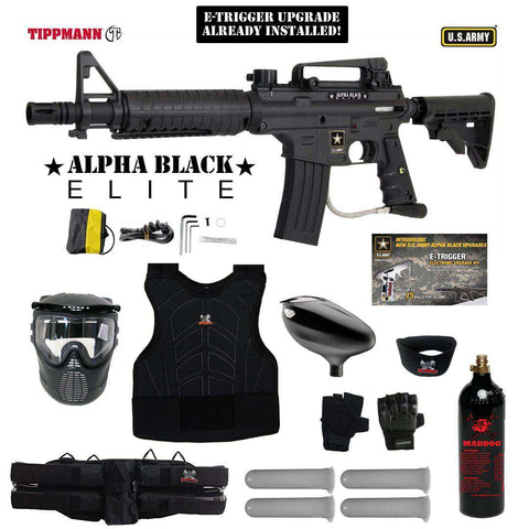 Tippmann U.S. Army Alpha Black Elite Tactical Starter Protective CO2 Paintball Gun Package