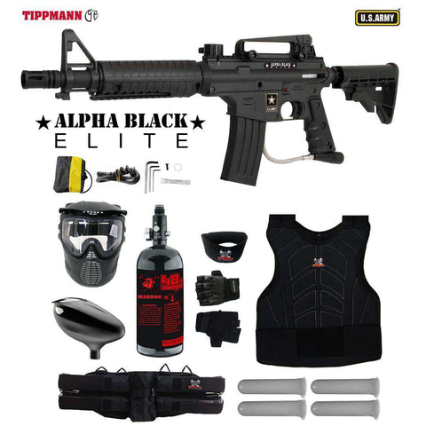 Tippmann U.S. Army Alpha Black Elite Tactical Starter Protective HPA Paintball Gun Package