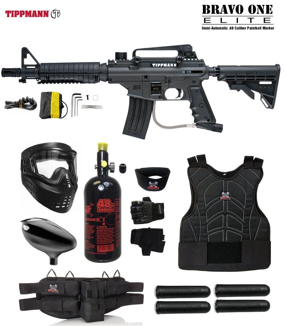 Maddog Tippmann Bravo One Elite Tactical Starter Protective HPA Paintball Gun Package