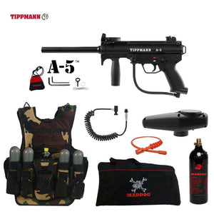Tippmann A-5 Maddog Lieutenant Tactical Camo Vest Paintball Gun Package