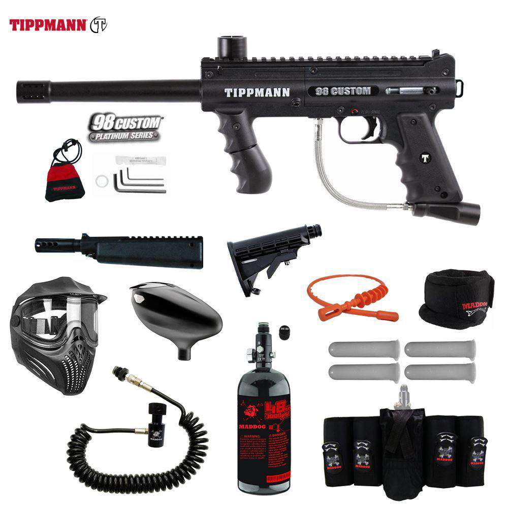 Tippmann 98 Custom Platinum Series Maddog Elite Remote HPA Paintball Gun Package