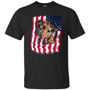 4th July Independence Day Giraffe Merica Shirt
