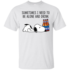 Snoopy Sometimes I Need To Be Alone And Drink Bud Light Bottle Shirt