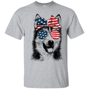 Alaskan Malamute American Flag Pattern Ribbon Glasses Shirt