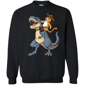 Cat Riding Dinosaur Shirt, Hoodie