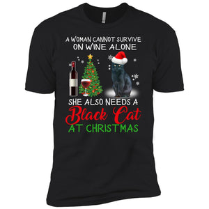 A Woman Cannot Survive On Wine Alone A Black Cat At Christmas Sweatshirt