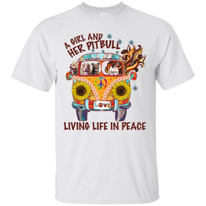 A Girl And Her Pitbull Love Living Life In Peace Sunflower Shirt