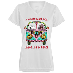 A Woman And Her Dog Living Like In Peace Snoopy Shirt