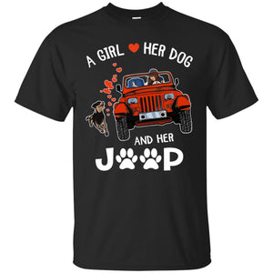 A Girl Loves Her Dog And Her Jeep Shirt