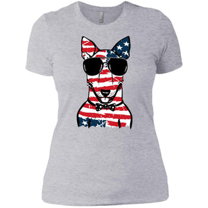 Cute Bull Terrier American Flag Pattern Shirt