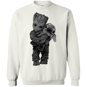 Baby Groot Hugs Stitch Shirt, Sweater