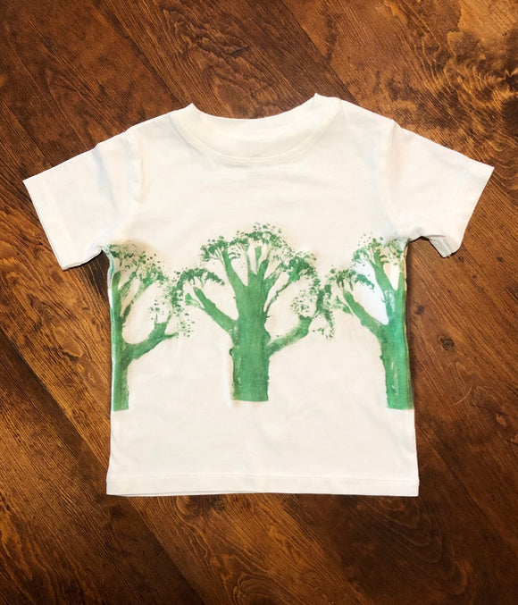 Broccoli gyotaku print t shirt