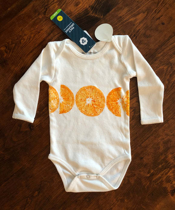 Organic Cotton Long Sleeve Onesie- Orange