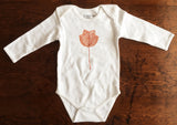 Organic Cotton Long Sleeve Onesie- Tulip tree leaf