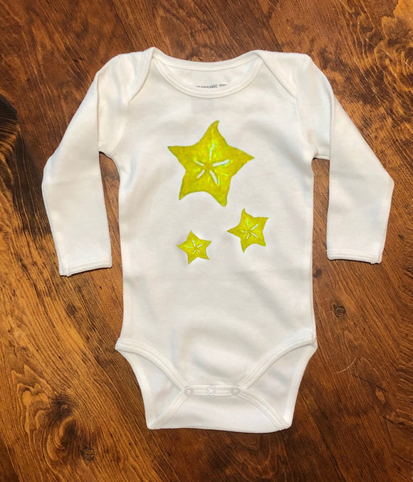 Organic Cotton Long Sleeve Onesie- Starfruit