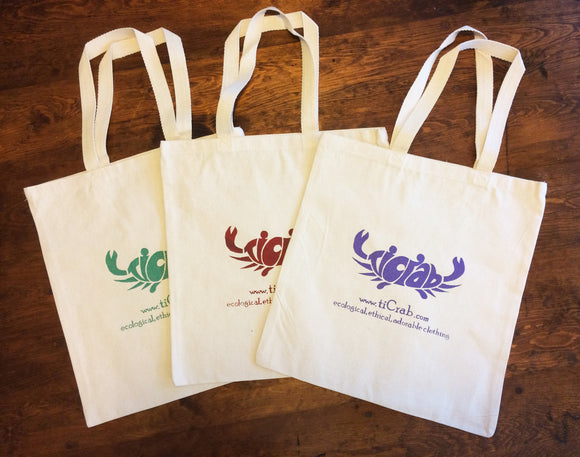 Organic Cotton Tote with silk screened tiCrab logo