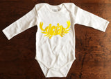 Organic Cotton Long Sleeve Onesie- tiCrab logo