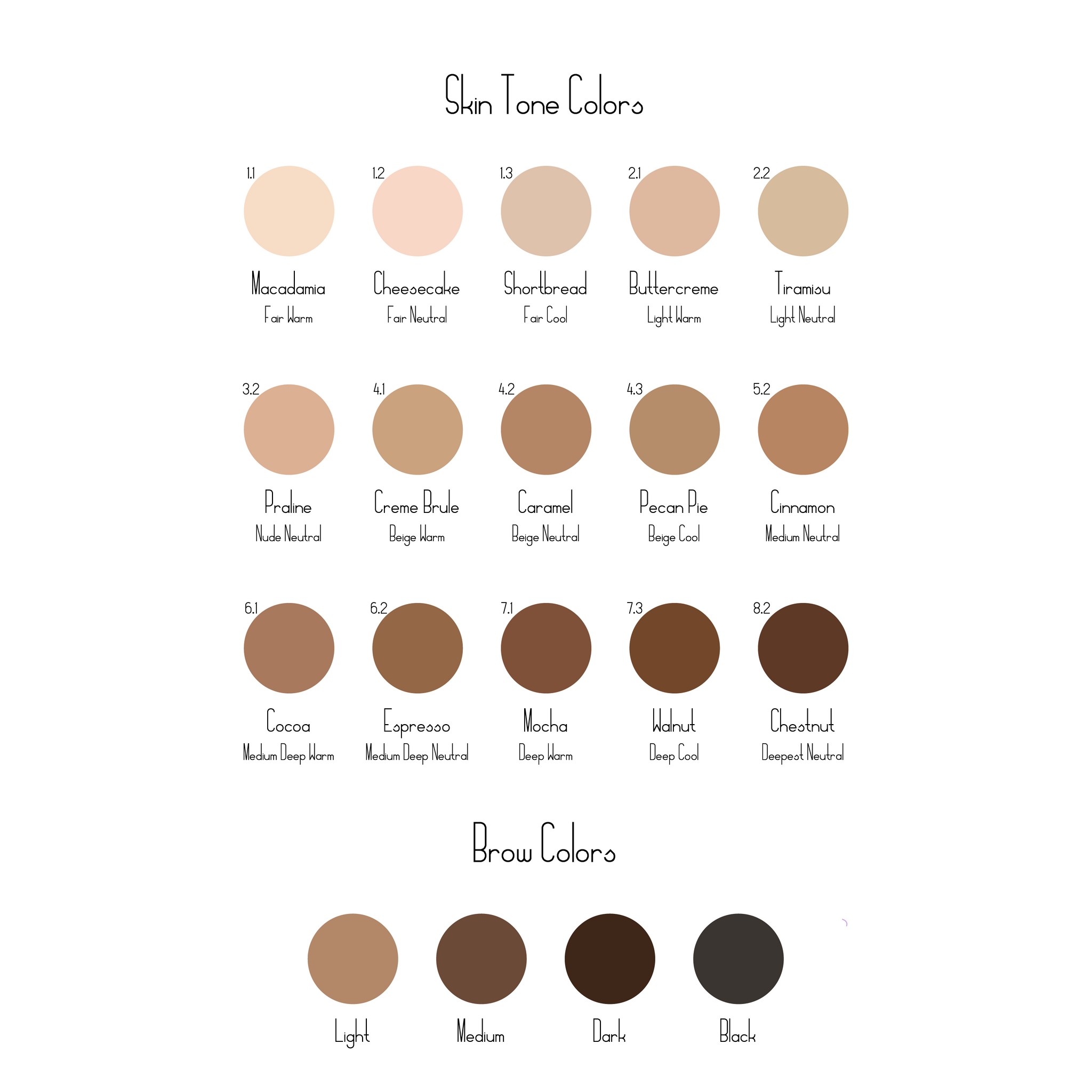Doekit Skin Tone and Brow Color Chart