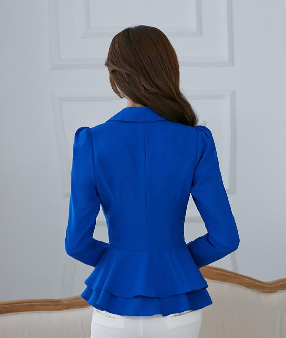 019# Candy Color Casual Blazer Feminino Slim Short Suit Ruffles Blazer Women Jacket Elegant Ladies Work Suits Blazers Jackets - Dailytechstudios