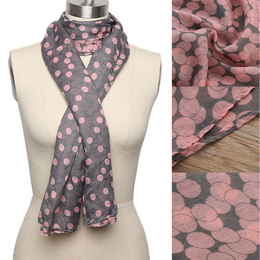 1 PC HOT Women Lady Soft Long Voile Neck Large Scarf Wrap Shawl Stole Pink Grey Dots Pashmina Scarf 165*80 CM Xmas Gift - Dailytechstudios