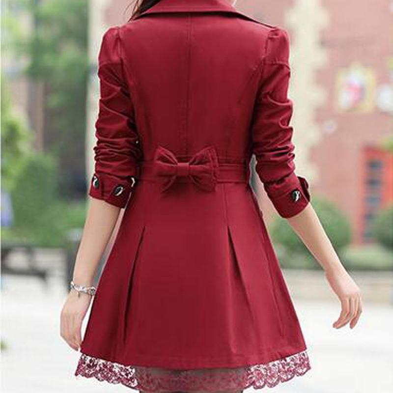 1 PC Lace Trench Coat Spring Autumn New Long Turn-down Collar Plus Size Double Breasted Outerwear 2017 Women Casual Solid SY015