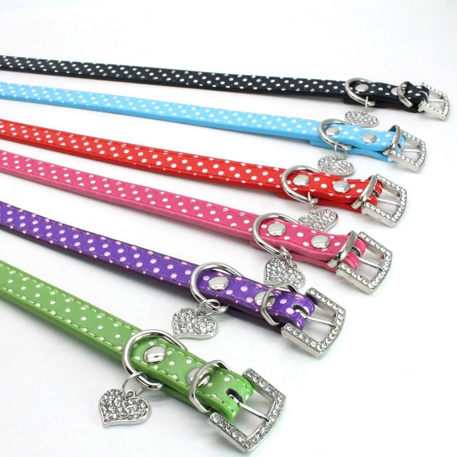 1 PC New PU Leather Dog Collars Diamante Collar Pet Bling Puppy Small Medium Large Spotty WB199 PP - Dailytechstudios