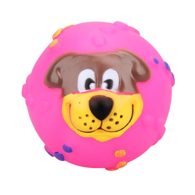 1 PC Practical Pet Dog Playing Toy Soft Rubber Dog Face Pattern Chew Squeaker Squeaky Toys Phonate Random Color - Dailytechstudios