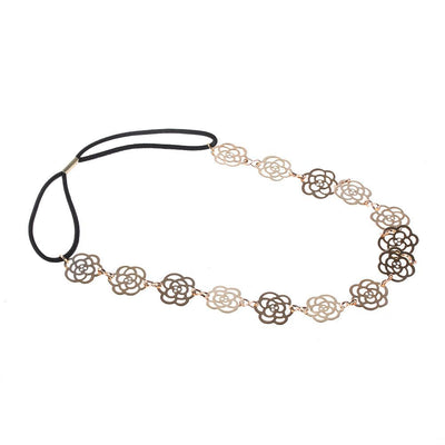 1 PCS Girls Womens Fashion Metal Chain Jewelry Hollow Rose Flower Elastic Hair Band Accessories Sale - Dailytechstudios