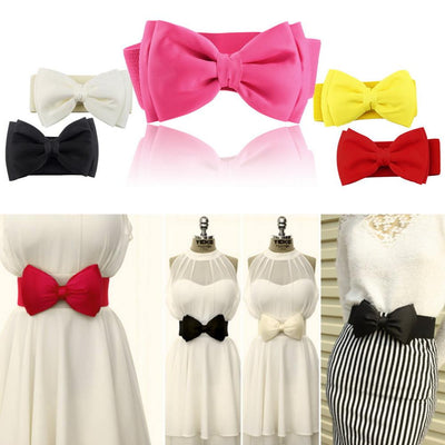 1 PCS Hot Sale Women Girls Bowknot Elastic Bow /Wide Stretch Buckle Waistband Waist Belt 2016 Fashion - Dailytechstudios