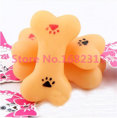 1 PCS Resistant To Bite Bone Dog pet toys solid silicone elastic bone dog cat squeak toy Free Shipping XGS4 - Dailytechstudios