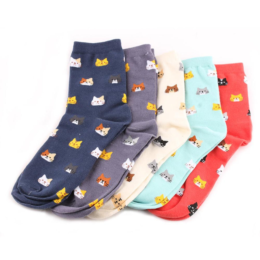 1 Pair 2017 Hot Sale New Fashion Cute Women Multi-colors Cotton Socks Animal Cat Pattern Cartoon Lovely Causal Lady Socks Gift - Dailytechstudios