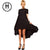 1 Pcs Casual Beach Tunic Women's Black Short Sleeve Dress Irregular Front Short And After Long Party Female Swallow Tail Clothes