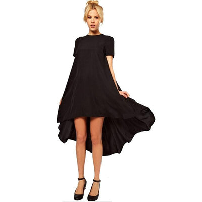 1 Pcs Casual Beach Tunic Women's Black Short Sleeve Dress Irregular Front Short And After Long Party Female Swallow Tail Clothes - Dailytechstudios