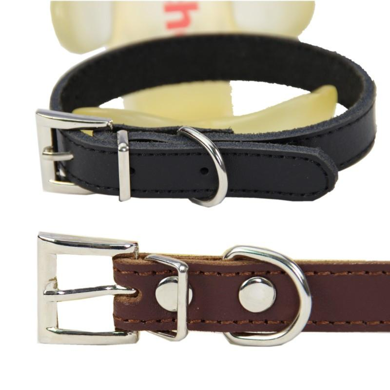 (1 Pieces/lot)Pure Leather Pet  Dog collar  Brown Black Puppy small Large Big dog collar Size XS S M L XL - Dailytechstudios
