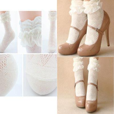 1 pair 2016 Retro Style Cotton  Lace Ruffle Frilly Ankle Short Socks Princess Girl - Dailytechstudios