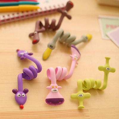 1 pcs Lovely fashion strip animal bobbin winder ear mechanism storage line hub multi-function Cables to receive clip Bag clip - Dailytechstudios