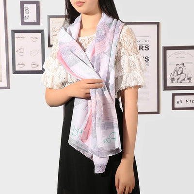 1 pcs Stylish Women Print Cotton Long Pink Scarf Wrap Ladies Shawl Large Silk Scarves - Dailytechstudios